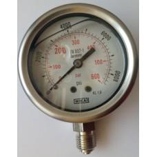 Pressure Gauge 600 Bar or 8000 PSI, In Stock