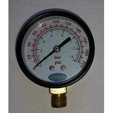 Pressure Gauge 14 Bar or 200 PSI, In Stock