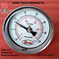 Temperature Gauge -20°C to 120°C, Chrome Body Dial Size 2.5 Inch, Probe Length 2.5 Inch, Back Connection, Reliable Quality In Stock
